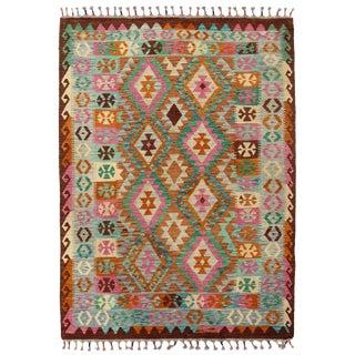 Afghan Kilim Handspun Wool Rug - 5′ × 6′10″ For Sale
