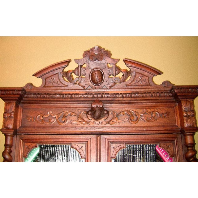 Mid 19th Century Early 19th Century French Provincial Highly Carved Oak Bookcase For Sale - Image 5 of 13