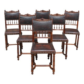 French Country Solid Walnut 19th Century Louis XIII Dining Chairs - Set of 6