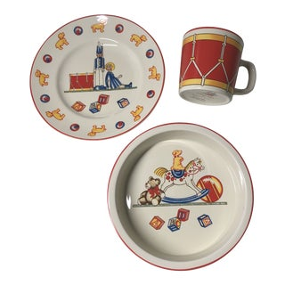 Vintage 1992 Tiffany & Toys by Tiffany & Co. Children's Place Setting - 3 Piece Set For Sale