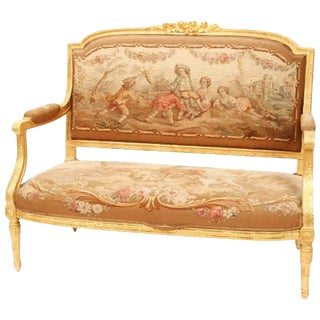 19th Century Louis XVI Gold Fabric Upholstered Settee For Sale