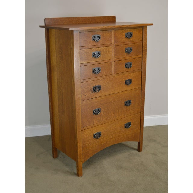 High Quality American Made Solid Oak Mission Style Tall Chest with Dovetailed Drawers with Dark Copper Hardware # 35...