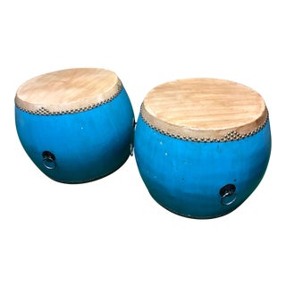Chinese Turquoise Drums - a Pair For Sale