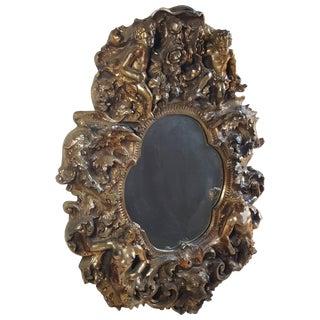 Sculptural Fantasy Finesse Originals Gold Gilt Wall Mirror For Sale