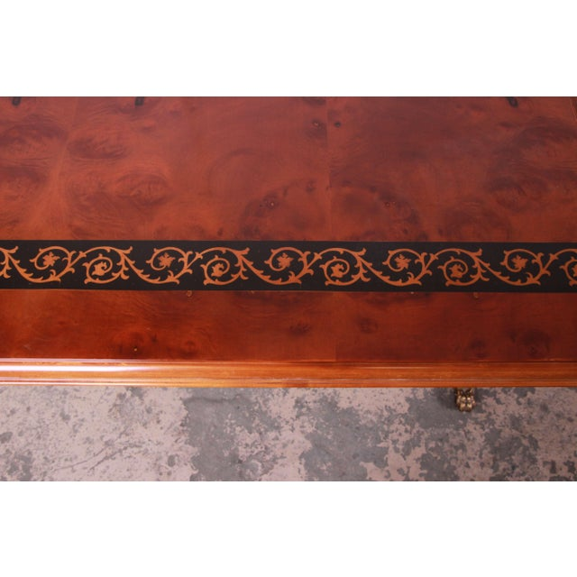 Outstanding 13 Foot Burled and Inlaid Regency Style Extension Dining Table For Sale - Image 9 of 13