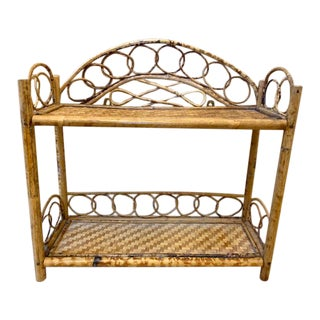 Vintage Bamboo and Rattan Wall Shelf For Sale