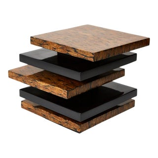 1990s Stacked Lacquer Side Table With Natural Fiber Inlay For Sale