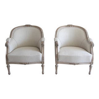 Antique 1920s Neoclassic Swedish Bergere Chairs - a Pair For Sale