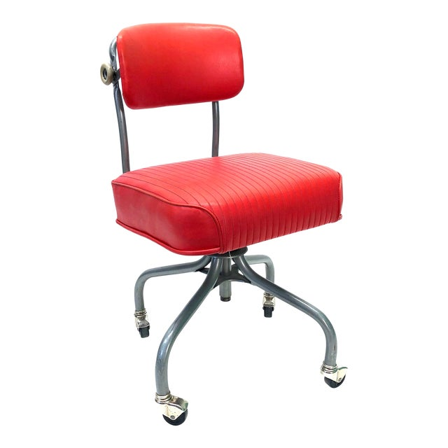 Tanker Steelcase Machine Age Industrial Little Red Desk Chair For Sale