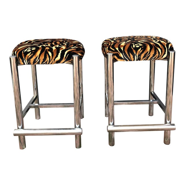 Mid-Century Chrome Based Stools - a Pair For Sale