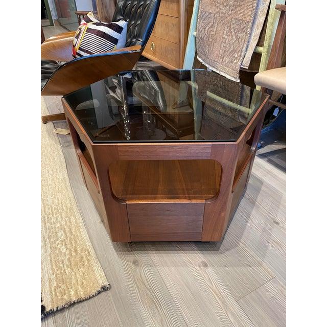 Wood Vintage Browne Salzman Octagonal Smoked Glass Side Table For Sale - Image 7 of 7