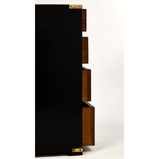 English Campaign Style Ebonized Mahogany Side Tables- A Pair - Image 9 of 10