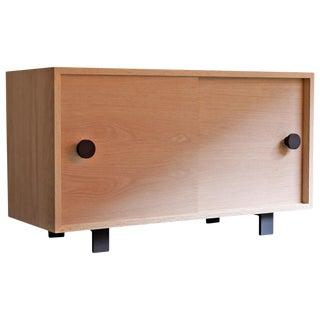 Aquinas Red Oak Sliding Door Cabinet For Sale