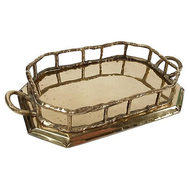 Octagonal Brass Tray with Bamboo Rail For Sale - Image 5 of 5