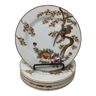 Japanese Pheasant in Maple Tree Gilded Plates- Set of 5 For Sale