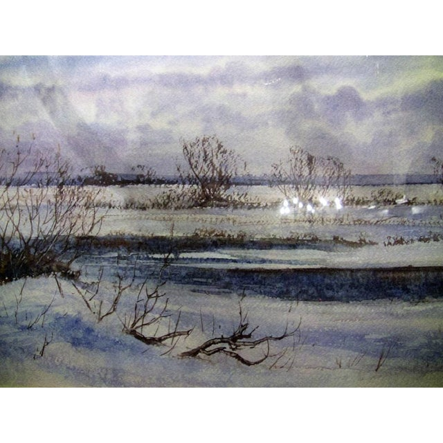 """Gray Early 21st Century Vintage Irish """"Winter Scene"""" Watercolor by Rev Jh Flack For Sale - Image 8 of 9"""