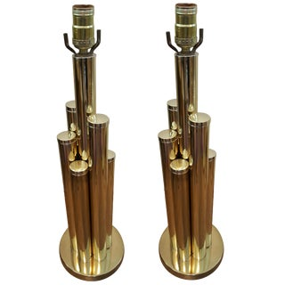 Pair of Brass Cylinders Lamps For Sale