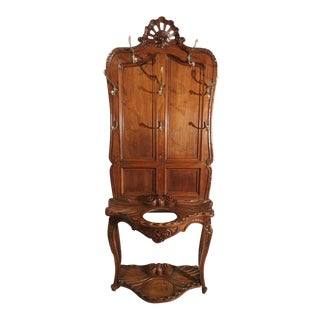 1880 Antique French Walnut Wood Hall Rack and Umbrella Stand For Sale