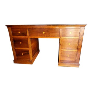 18th Century English Traditional Solid Walnut Partner Desk For Sale