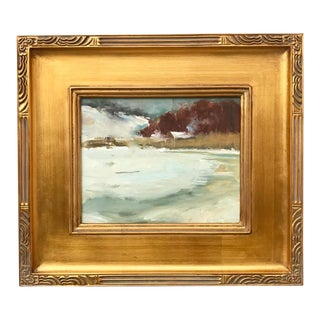Vintage American Impressionist Oil Painting Winter Long Island Sound by Harry Barton For Sale