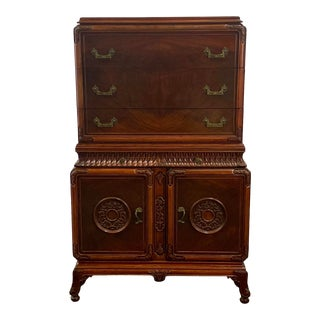 Vintage Flame Mahogany Chinese Chippendale Chest on Chest For Sale