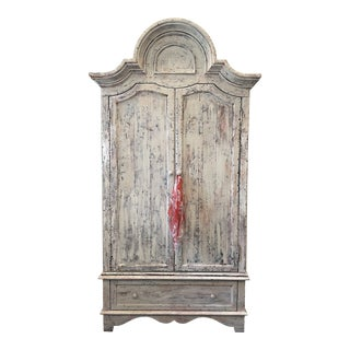 Shabby Chic Textured Painted Armoire For Sale