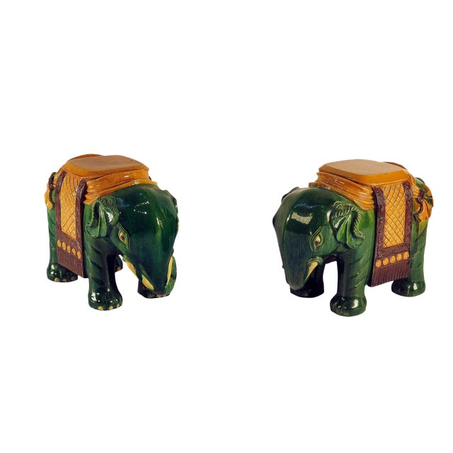 Circa 1850 Ching Dynasty Green Glazed Elephant Garden Seats - A Pair For Sale