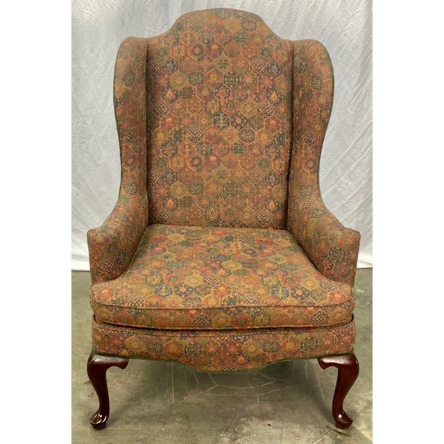 Vintage Mahogany Frame Chippendale Style Upholstered Wingback Chair For Sale - Image 10 of 11
