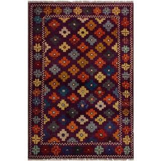 1990s Southwestern Balouchi Francesc Purple/Green Wool Rug - 3'4 X 4'11 For Sale