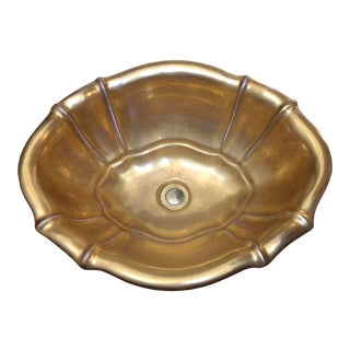 1970's Sherle Wagner Gold Leaf Porcelain Sink For Sale