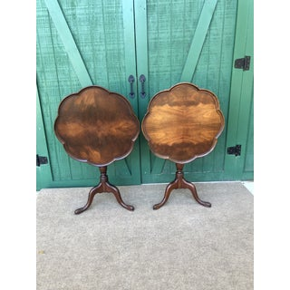 1910s Antique Chippendale Style Tilt Top Mahogany Round Tables-a Pair Preview