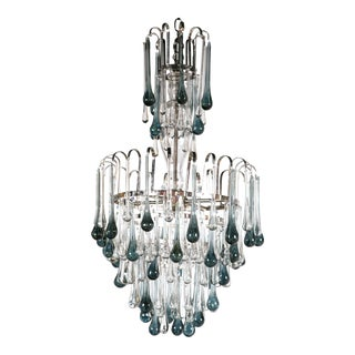 Art Nouveau Murano Glass Chandelier With Blue Drops For Sale