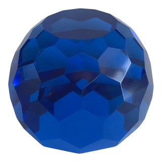 Vintage Mid Century Multi-Faceted Cobalt Blue Glass Paper Weight For Sale