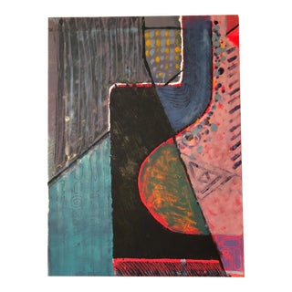 1980's Vintage Abstract Acrylic Monoprint Painting by Mariko Nutt For Sale