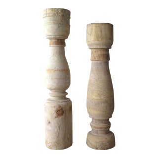 Found Wood Candle Holders - a Pair For Sale