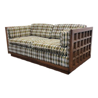 Mid Century Sofa Loveseat With Wood Panels and Bentwood Back Supports For Sale