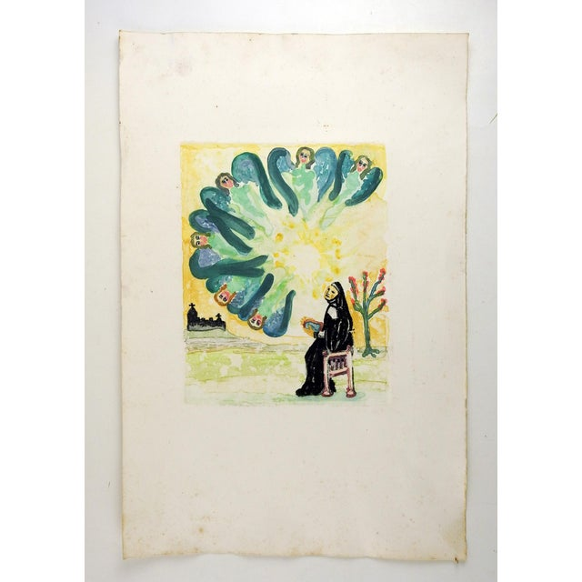 Mediterranean Mid Century Colored Etching of Angels For Sale - Image 3 of 4