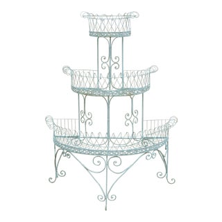 Antique French Victorian 3 Tier Blue Iron Wire Metal Planter Plant Stand For Sale