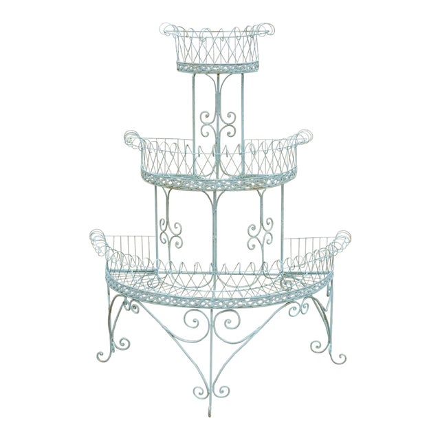 Antique French Victorian 3 Tier Blue Iron Wire Metal