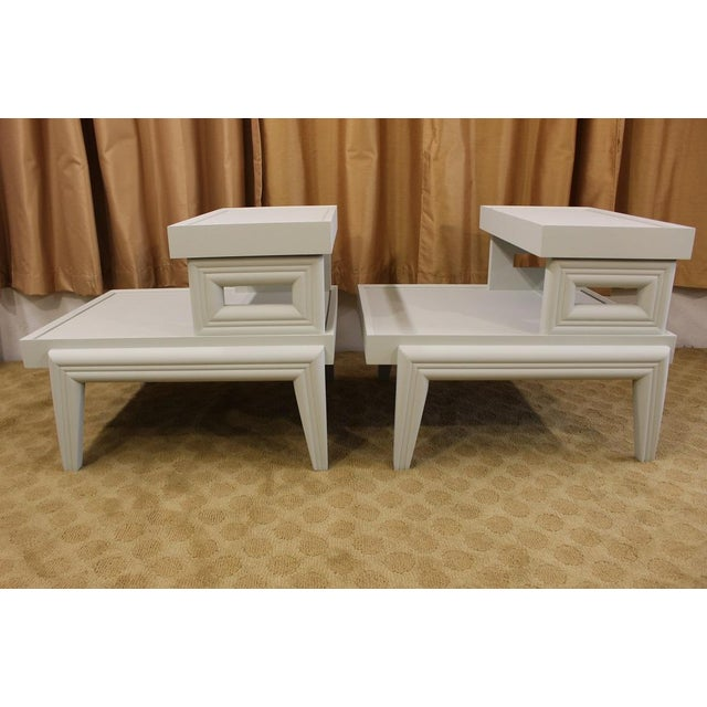 Mid-Century 1950s Step End Tables - A Pair - Image 7 of 9