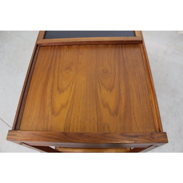 Brown Mid-Century Danish Modern Teak Sliding Door Bar Cart For Sale - Image 8 of 11