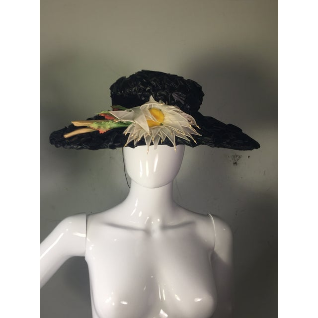 1940's Vintage Great Black Ribbon Hat With Amazing Silk Flower For Sale - Image 10 of 13