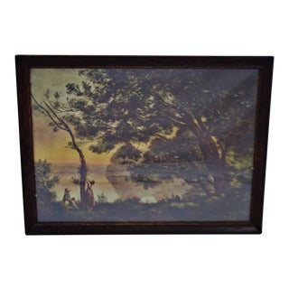 Vintage Framed Jean Baptiste Camille Corot Landscape Print For Sale
