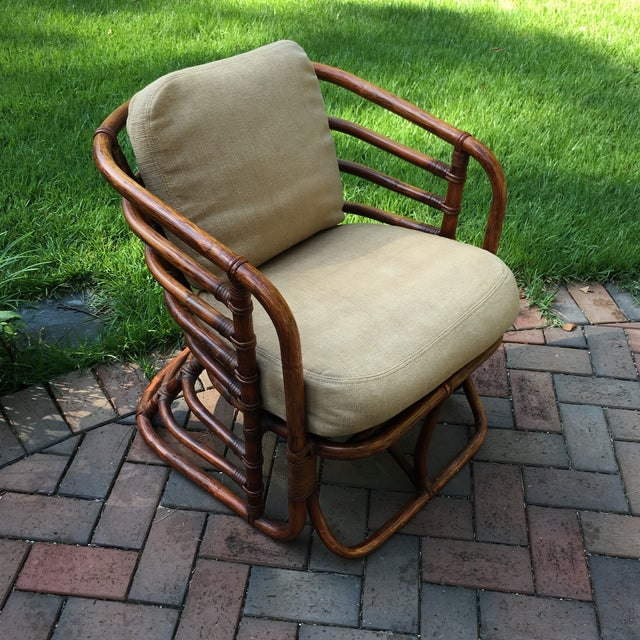 1970s Boho Chic Brown Jordan Rattan Arm Chair For Sale - Image 10 of 10
