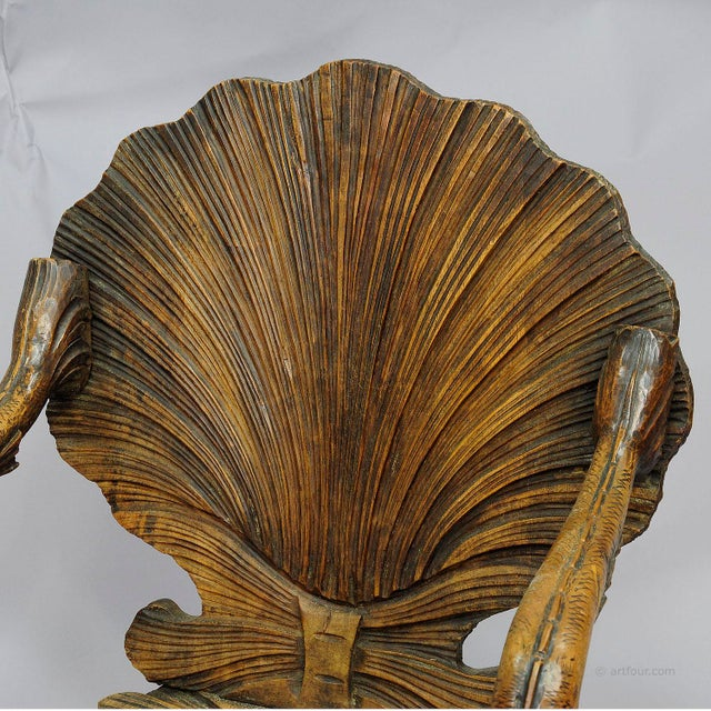 Antique Wooden Carved Grotto Armchair Ca. 1880 For Sale - Image 6 of 9