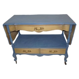 Farmhouse Style Blue Wood Rolling Serving Cart
