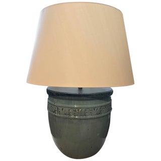 Large Glazed Pot Lamp