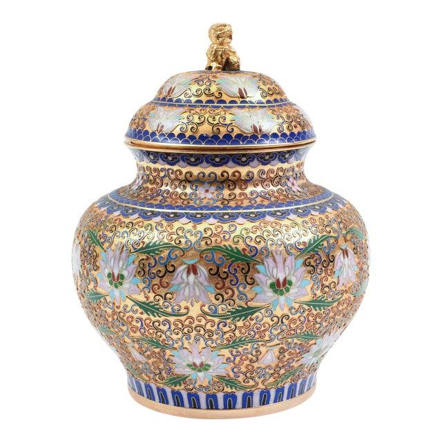 Covered Decorative Gilded Cloisonne Urn For Sale