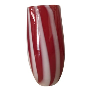 Vintage Alfred Barbini Red and White Striped Murano Glass Vase For Sale