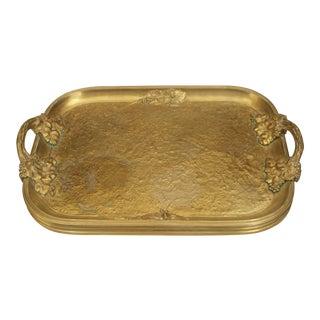 Antique French Art Nouveau Gilt Bronze Serving Tray For Sale